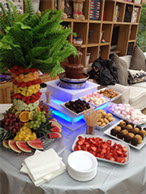 Fruit Palm Tree and Chocolate Fountain with Sweets and Fruit